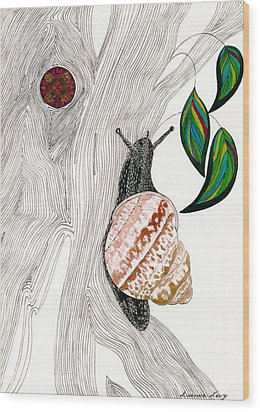 Wood Print featuring the drawing Your Garden Snail by Dianne Levy