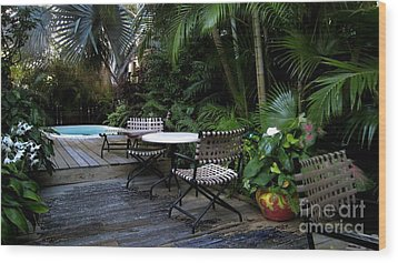 Your Table Is Ready Wood Print by Claudette Bujold-Poirier
