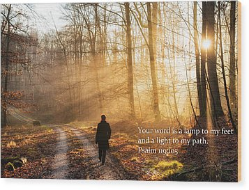 Your Word Is A Light To My Path Bible Verse Quote Wood Print by Matthias Hauser