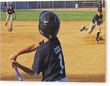Youth Baseball Wood Print