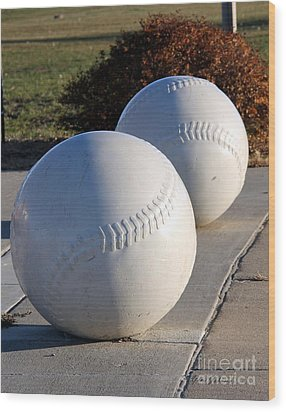 Youth Baseball Park Wood Print by Yumi Johnson