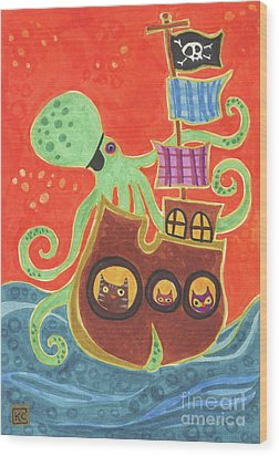 You've Been Pirated Wood Print by Kate Cosgrove