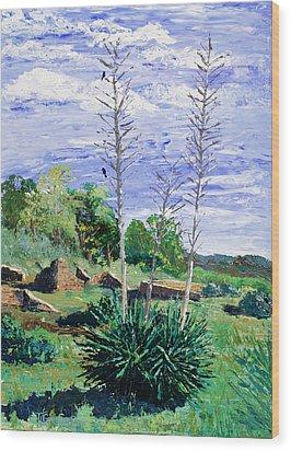 Yucca At The Ruins Wood Print