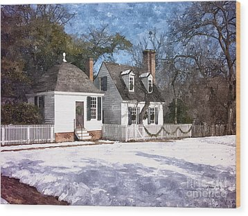Yule Cottage Wood Print by Shari Nees