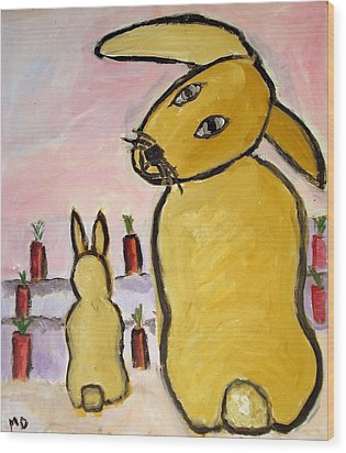 Wood Print featuring the painting Yummy Bunny by Michael Dohnalek
