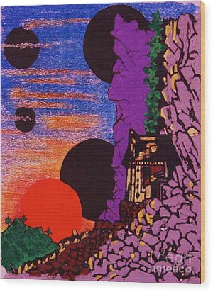 Yuyake Tsuka No Shutsu Wood Print by Roberto Prusso