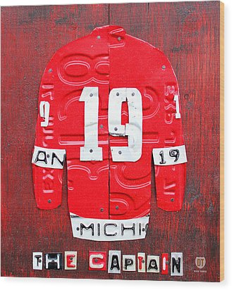 Yzerman The Captain Red Wings Hockey Jersey License Plate Art Wood Print by Design Turnpike