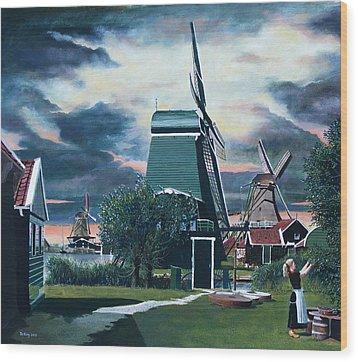 Zaanse Schans Wood Print by Jo King