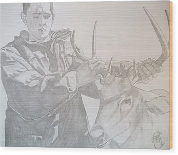 Wood Print featuring the drawing Zach's First Deer by Justin Moore