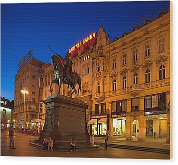 Zagreb Ban Jelacic Square At Night Wood Print by Steven Richman