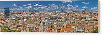 Zagreb Lower Town Colorful Panoramic View Wood Print by Brch Photography