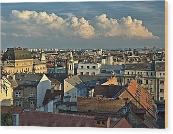 Zagreb Rooftops Wood Print