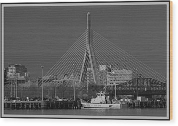 Wood Print featuring the photograph Zakim Bridge In Bw by Caroline Stella