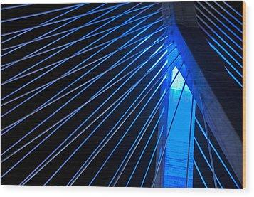 Zakim In Blue - Boston Wood Print by Joann Vitali