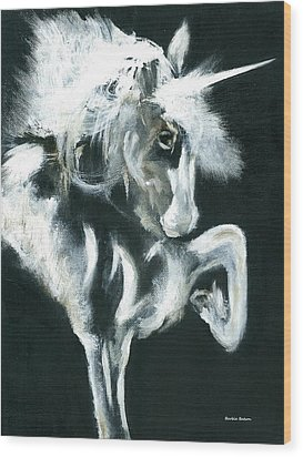 Wood Print featuring the painting Unicorn by Barbie Batson