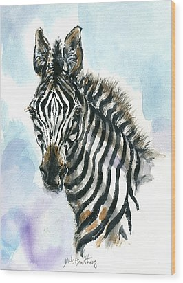 Zebra 1 Wood Print by Mary Armstrong