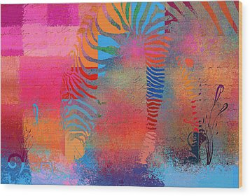 Zebra Art - Mtc077b Wood Print by Variance Collections