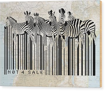 Zebra Barcode Wood Print by Sassan Filsoof