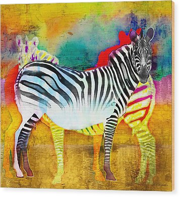 Zebra Colors Of Africa Wood Print by Barbara Chichester