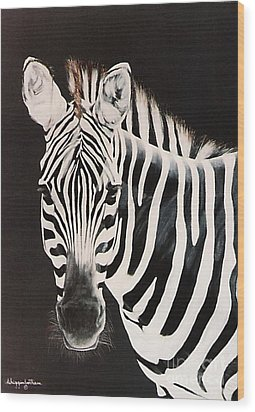 Wood Print featuring the painting Zebra Facing Left by DiDi Higginbotham
