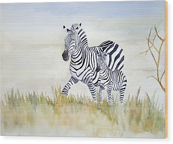 Zebra Family Wood Print