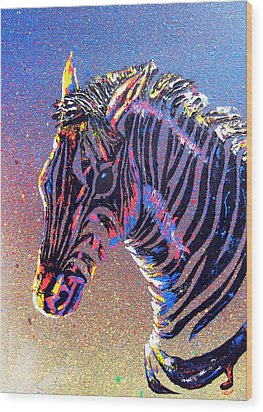 Zebra Fantasy Wood Print by Mayhem Mediums