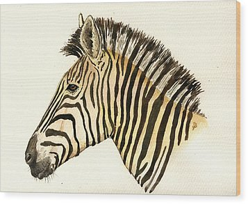 Zebra Head Study Wood Print