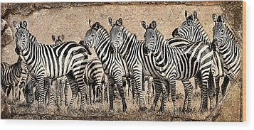 Zebra Herd Rock Texture Blend Wood Print