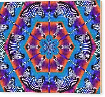 Zebra Kaleidoscope Wood Print