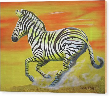 Zebra Kicking Up Dust Wood Print by Thomas J Herring