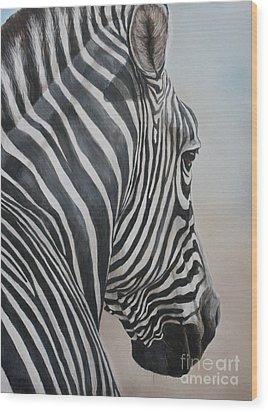 Zebra Look Wood Print by Charlotte Yealey
