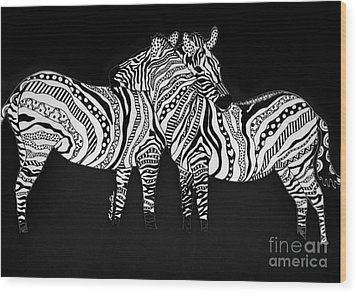 Zebra Love 1 Wood Print by Karen Larter