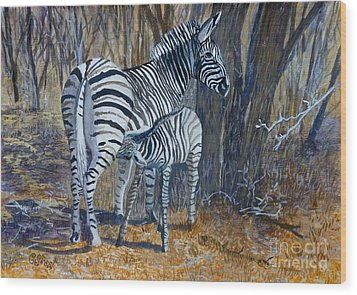 Zebra Mother And Foal Wood Print by Caroline Street