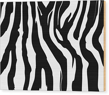 Zebra Print 001 Wood Print by Kenneth Feliciano