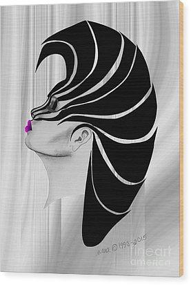 Wood Print featuring the drawing Zebra Punk by Marianne NANA Betts