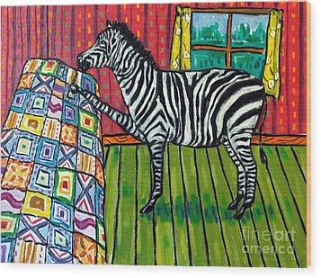 Zebra Quilting Wood Print by Jay  Schmetz