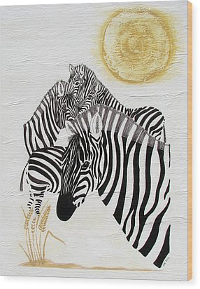 Zebra Quintet Wood Print by Stephanie Grant