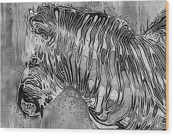 Zebra - Rainy Day Series Wood Print by Jack Zulli
