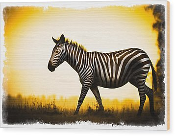 Wood Print featuring the photograph Zebra Sunset by Mike Gaudaur