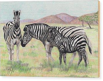 Zebra Trio Wood Print