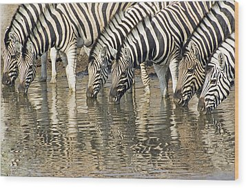 Wood Print featuring the photograph Zebras At Water Hole by Dennis Cox WorldViews