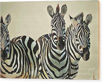 Wood Print featuring the drawing Zebras Drawing by Maja Sokolowska