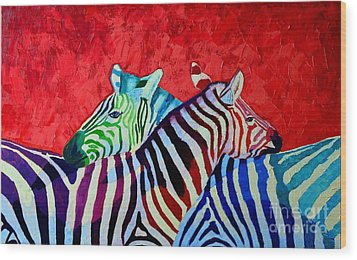 Zebras In Love  Wood Print by Ana Maria Edulescu