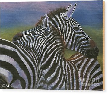 Zebras In Love Giclee Print Wood Print