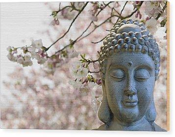 Zen Buddha Meditating Under Cherry Blossom Trees Wood Print