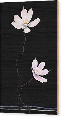 Zen Flower Twins With A Black Background Wood Print by GuoJun Pan