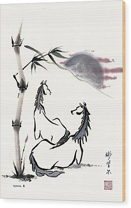 Wood Print featuring the painting Zen Horses Evolution Of Consciousness by Bill Searle