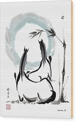 Wood Print featuring the painting Zen Horses Into The Vortex by Bill Searle