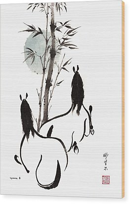 Wood Print featuring the painting Zen Horses Moon Reverence by Bill Searle