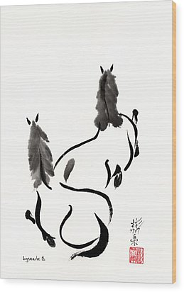 Wood Print featuring the painting Zen Horses Retired by Bill Searle